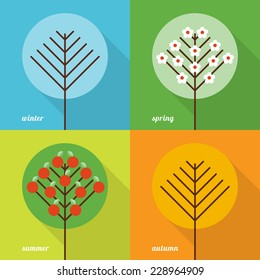 Collection of four seasons icons in flat style