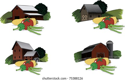 A collection of four separate woodcut style barn scenes with a group of vegetables in the foreground.