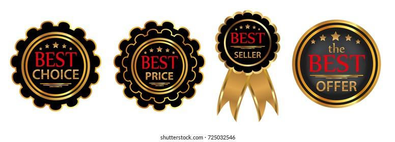 "Collection four vector badges ""Best choice"", ""Bestseller"",  ""Best price"", ""Best offer"". Vector illustration."