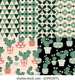 """Collection of four vector seamless pattern with the geometrical ornaments and two vector patterns with the cactuses in the funny flower pots. Floral design for textile in trendy scandinavian style
