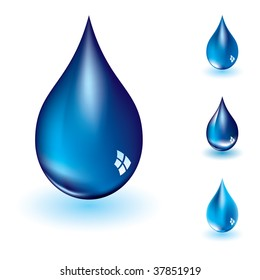 Collection of four water droplets with varying shades of blue