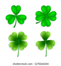 Collection of four-leaf clovers. Clover leaves set - quarterfoil and trefoil. Vector set of green clover leaves for design.