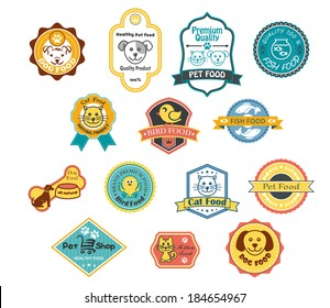 Collection of fourteen colorful pet food labels logo for cat, fish, bird and dog food and one for a pet shop