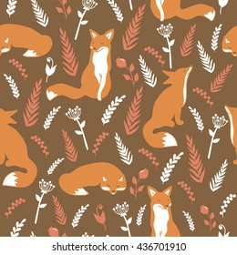 Collection of foxes and flowers: hand drawn seamless pattern. Doodle wallpaper vector. Colorful background with icon set