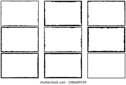 Collection of frames in grunge style. Templates for text or logo