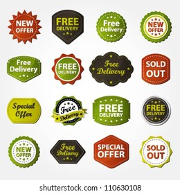 Collection of free delivery, new offer, special offer and sold out labels