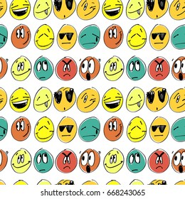 Collection of freehand drawing emoticons. Stylized emotions. Set of hand drawn feeling signs.