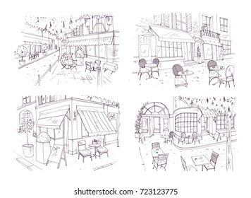Collection of freehand sketches of outdoor cafe or restaurant with tables and chairs standing on city street beside buildings and trees. Monochrome vector illustration hand drawn with contour lines.