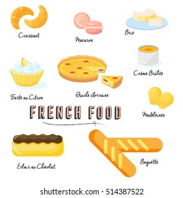 Collection of French Food Flat Vector