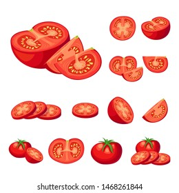 Collection of fresh cut red tomatoes vector illustrations. Half a tomato, a slice of tomato, cherry tomato. cartoon illusrearion isolated on white