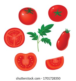 Collection of fresh red tomatoes vector illustrations. Half a tomato, a slice of tomato.