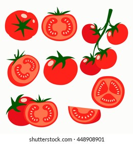 Collection of fresh red tomatoes vector illustrations. Half a tomato, a slice of tomato, cherry tomato.