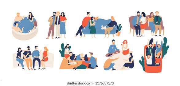 Young Friends Sitting On Couch Stock Illustrations Images Vectors