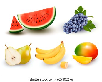 Collection of fruit and berries. Watermelon, grape, pear, banana, mango. Vector Set.
