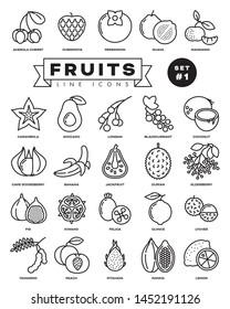Collection of fruit vector outline icons. Illustration of healthy food from all over the world. Set 1 of 3.