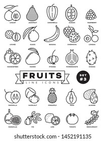 Collection of fruit vector outline icons. Illustration of healthy food from all over the world. Set 3 of 3.