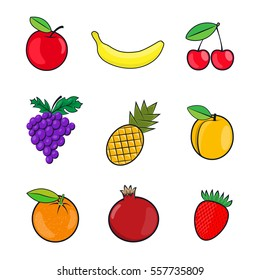 Collection fruits icons in flat style. Colorful summer fruit, vector illustration on the theme of healthy food, organic food for your Projects summary.