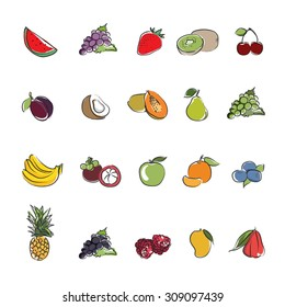 Collection Fruits icons vector design
