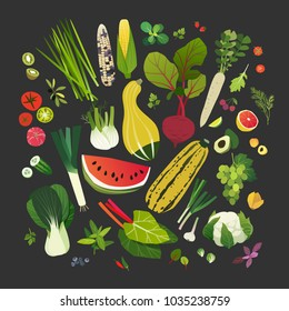 Collection of fruits, vegetables, leafy greens and common herbs