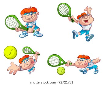collection of fun cartoon tennis players