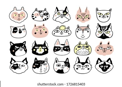 Collection of fun cat faces or heads. Bundle of various cartoon cats muzzles isolated on white background. Hand drawn vector illustration