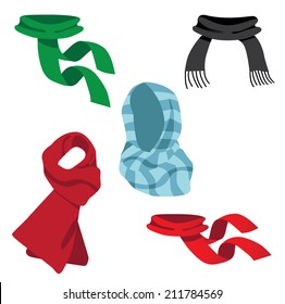 A collection of fun scarves. EPS 10 vector.