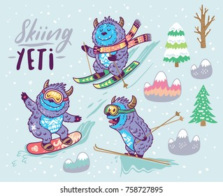 Collection with fun yeti snowboarding and skiing in the mountain. Cute hand drawn vector illustration in cartoon style.