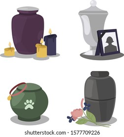Collection funeral service icons with urns of cremation ceremony. Funeral columbarium urn with candles, flowers and photo frame. Mortuary urn for pets with a picture of a paw. Vector illustration