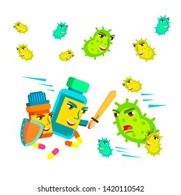 Collection Of Fungus Microbe And Pills Set Vector. Antibacterial Drugs With Shield And Sword Fighting With Fungus Bacteria Infection. Healthcare And Protection Flat Cartoon Illustration