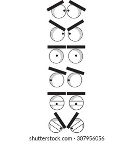 Collection of funny cartoon eyes.
