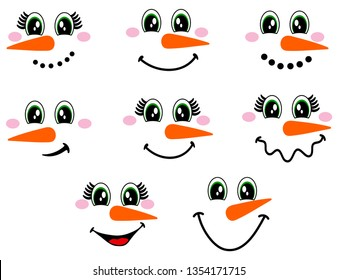 Collection of funny colorful snowman faces. Christmas.