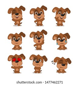 Collection of funny dog in cartoon style in different poses and emotions isolated on white background