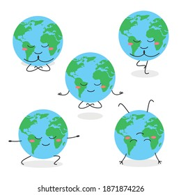 Collection of funny Earth planet character meditating in different asanas World yoga concept. Vector flat illustration isolated on white background