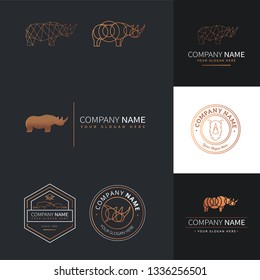 Collection of funny and elegant rhinoceros logos