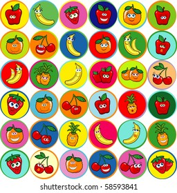 Collection of funny fruits humanized on colored backgrounds, vector