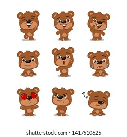 Collection of funny little bear in different poses and emotions isolated on a white background