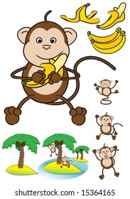 Collection of funny monkeys, banana's and palm trees islands.