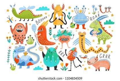 Collection of funny monsters or aliens. Bundle of cute fantastic or fairytale creatures. Cartoon characters isolated on white background. Bright colored childish vector illustration in flat style