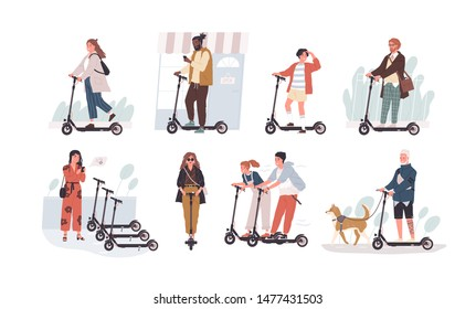 Collection of funny people riding kick scooters isolated on white background. Bundle of young and elderly men and women and children on modern personal transporters. Flat cartoon vector illustration.