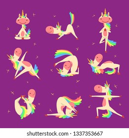 Collection of Funny Unicorn Character with Rainbow Mane and Tail Practicing Yoga Exercises Vector Illustration