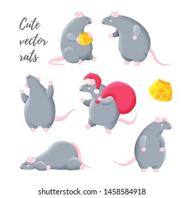 Collection of funny vector mice. Rat is the symbol of 2020. Chinese New Year. Set of stickers.