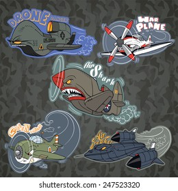 Collection of funny vehicle caricatures with human like face expressions, hand drawn vector characters