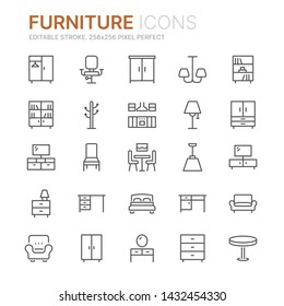 Collection of furniture line icons. 256x256 Pixel Perfect. Editable stroke