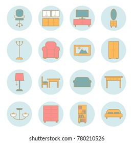 Collection of furniture vector outline icons. Line icons for web, print design