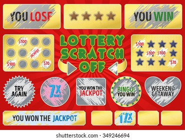 Collection game card with scratch effect marks for lottery ticket design.