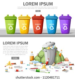 Collection of garbage cans with sorted garbage. Steel garbage bin full of trash. Ecology and recycle concept. Garbage recycling and utilization concept. Flat vector illustration on white background.