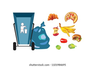 Collection of garbage and debris. Blue waste basket. Organic waste. Spoiled food and stub. The skin of a banana, bitten hamburger and apple stub. A plastic bagfull. Isolated Vector Illustration