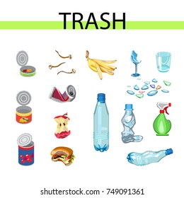 Collection of garbage and debris. broken glass, scrap metal, organic, plastic waste. Vector illustration