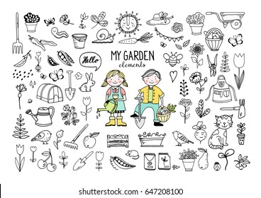 Collection of garden doodle elements, isolated hand drawn vector illustration
