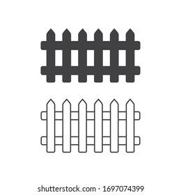 collection  of Garden fence wooden icon ,vector